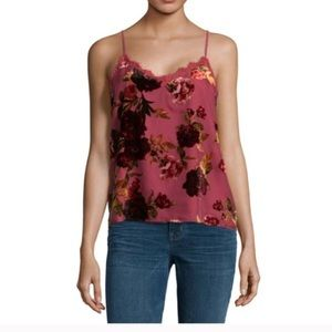 a.n.a red lace velvet floral camisole size L